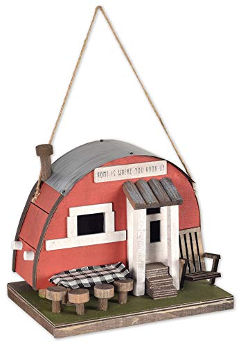 Sunset Vista Designs BPS-07 Decorative and Functional Outdoor Birdhouse, Red Camper Trailer