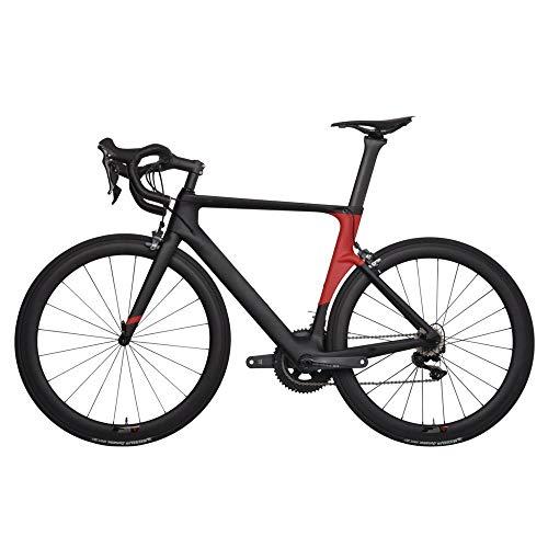 YDZ Cadre en Carbone vélo de Route 700C Alliage Roue Pneu Fourche Tige de Selle V Frein vélo, SRAM Rival, 49 cm (170 cm-175 cm)
