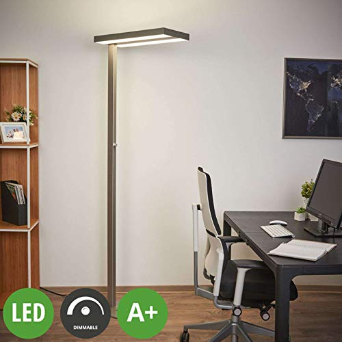 Arcchio LED Stehlampe 'Logan' dimmbar (Modern) in Alu aus Aluminium u.a. für Arbeitszimmer & Büro (2 flammig, A+, inkl. Leuchtmittel) - Büro-Stehleuchte, Bürolampe, Arbeitsplatzlampe, Standleuchte