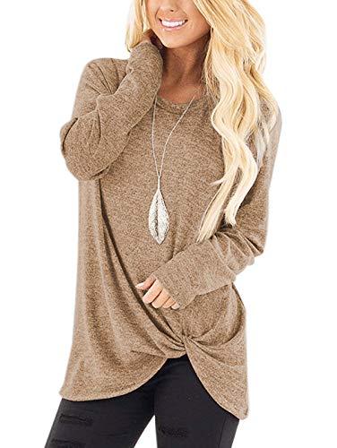 SHIBEVER - Camiseta de manga corta / larga para mujer, con cuello redondo y anudado lateral, estilo informal, a la moda, Suave, L