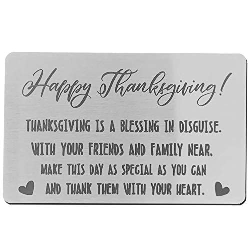 TUWUNA Thanksgiving Blessing Card, Metal Wallet Card Insert, Mini Love Note, Anniversary Card from Family, Anniversary Cards for Friends, Friends Card (Silver-5)