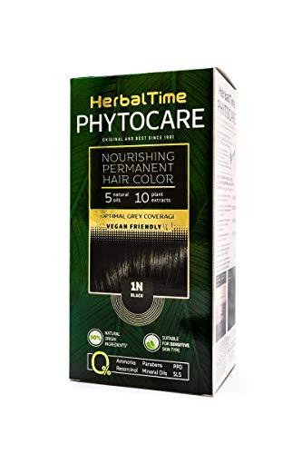 Phytocare Tinte permanente y nutritivo para cabello sin amoniaco, sin PPD, sin SLS, sin parabenos Color Negro 1N