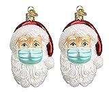 Timess Christmas Personalisierter Weihnachtsmann mit Mundschutz personalisierte Ornamente Weihnachtsbaumschmuck Feiertage Dekorationen Segen Weihnachtsmann Weihnachtsbaum Hängen Anhänger (A2)