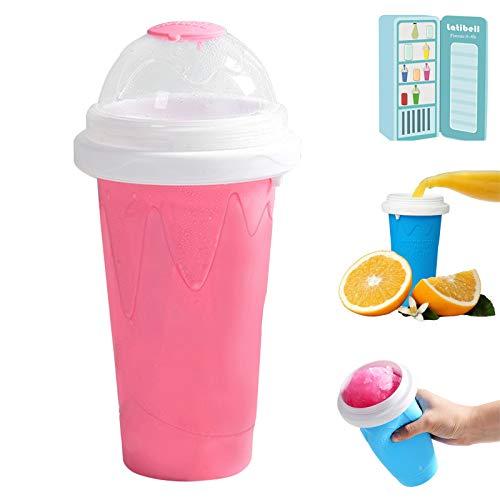 ZZJCY Taza Batidos Congelados Rápidamente 300 Ml Capacidad, Fabricante Helados Bricolaje para Summer Cool, con Paja Y Cuchara, Botella para Jugo Frutas Coca Leche,Pink a
