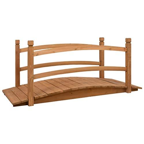 vidaXL Ponte da giardino in legno di abete massiccio, impermeabile, ponticello decorativo per laghetto, ponticello in legno, 140 x 60 x 60 cm