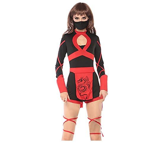 Mode Damen Halloween Cosplay,Japanischen Bushido Vintage Style Kleid Karnevalskostüme mit Gürtel und Maske,URIBAKY