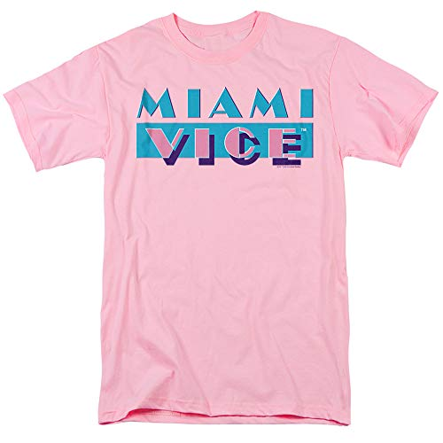 Miami Vice Logo Unisex Adult T Shirt, Pink, S to 3XL