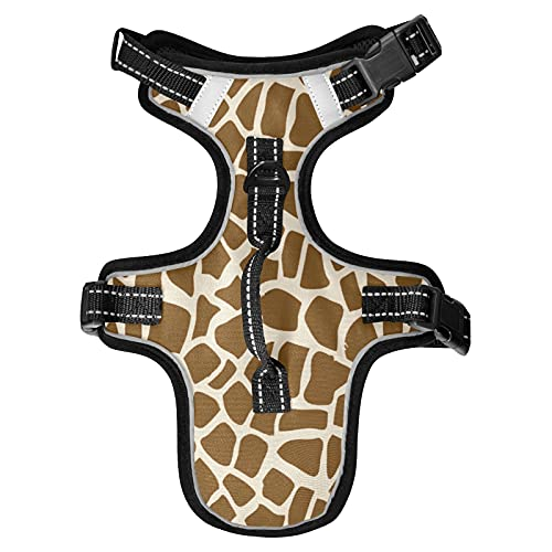 No Pull Dog Harness Giraffe Skin Dog Harness , Adjustable Tactical Dog Harness Reflective Oxford Soft Net Breathable Pet Vest for Small Medium Large Dogs.