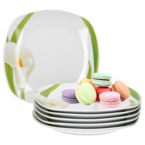 Van Well 6er Set Dessertteller Calla, 190 x 190 mm, Kuchenteller, Kleiner Servierteller, weißer Blüten-Kelch, Pflanzendekor, edles Porzellan-Geschirr, Gastro