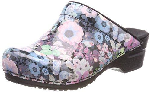 Sanita Isalena Open, Zuecos Mujer, Diseño de Rosas Multicolor, 38 EU