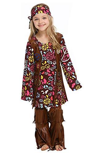 Traje Hippie Nina Disfraz de Hippie para Ninas de Manga Larga Vestido Flower Power,110-120cm