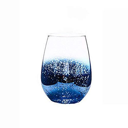 Vaso de cristal arcoíris con diseño de cielo estrellado, vaso de cristal de primera calidad brillante, zumo de agua, regalo perfecto para mujeres (azul, 2)