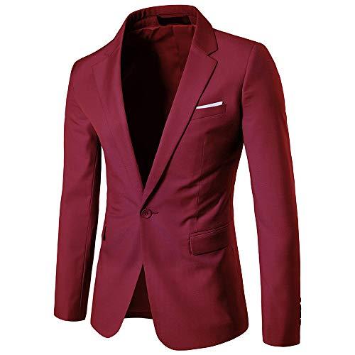 Generice Business Casual Anzug Hochzeit Hochzeit Einknopf Anzug Jacke Herren Gr. XXXXX-Large, Weinrot