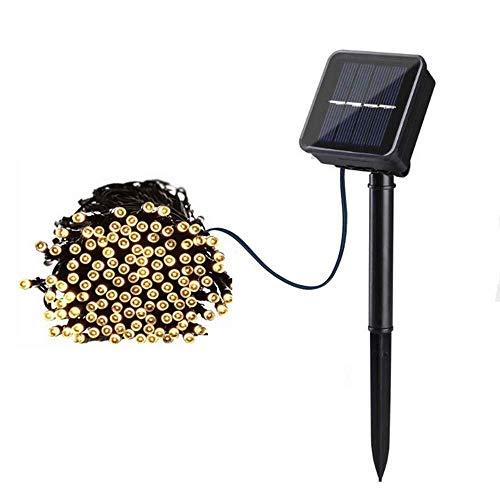 ZLININ Luz solar del LED, impermeable al aire libre ligera de la secuencia de 200 LED, pequeña lámpara de luz intermitente, la calle Corona de Navidad Solar Luz decoración del jardín, 3 modos, blanco