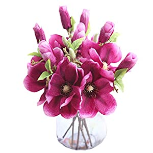 Mynse 5 Pieces Fake Flowers Magnolia Denudata for Home Birthday Party Office Decoration Artificial Flowers Leaf Magnolia Floral Deep Red