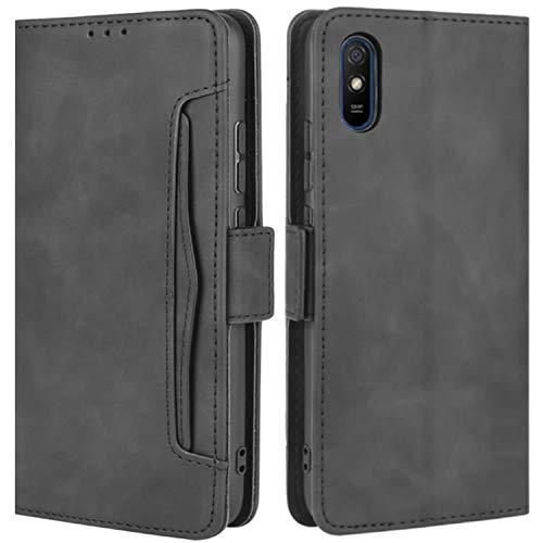 HualuBro Handyhülle für Xiaomi Redmi 9A Hülle Leder, Flip Hülle Cover Stoßfest Klapphülle Handytasche Schutzhülle für Xiaomi Redmi 9A Tasche (Schwarz)