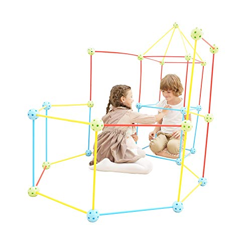 Win SPORTS 77 Pieces Flexible Construction Fort Set  Build Castles Tunnels Tents Rocket and Play Kit  Boys and Girls Gift  Fun Birthday Sleepover Toy
