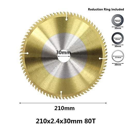 1pc 210 mm / 250 mm TCT hoja de sierra 24T / 40T / 80T Circular Saw disco de titanio Cotaed corte disco de carburo de sierra de corte Disc TCT hoja de sierra Cortar la ruleta