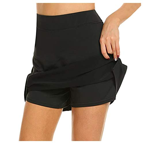 Damen Sport Hosenrock mit Tasche Tennisrock Skirt für Laufen Tennis Golf Leichter Workout Rock Gefälschten Zweiteiligen Hakama Kleider (A-Schwarz, S)