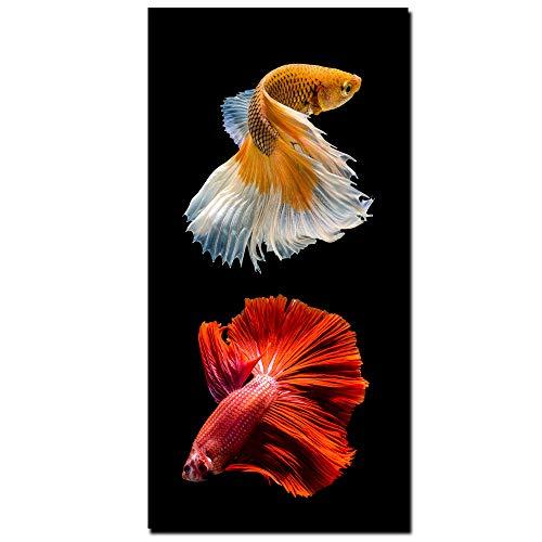 Affiche De Poissons Abstraites Modernes Et Impressions Murales Art Home Decor Peintures À L'huile HD Print Goldfish Photos Peintures Sur Toile (No Frame),B,60Cm*120Cm