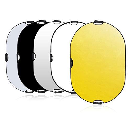 Selens 5 in 1 Reflektor 80x120CM / 31,5x47,2 Zoll Oval Reflektor Tragbarer Faltbarer Diffusor Gold/Silber/Weiß/Schwarz/Transparent für Fotografie Foto...