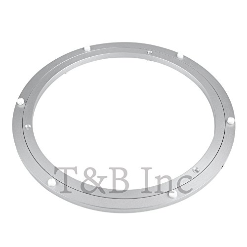 T&B 12 Inch Aluminum Lazy Susan Heavy Duty Metal Rotating Hardware Turntable Bearings Ring 300mm Silver Turntable on Dining-table