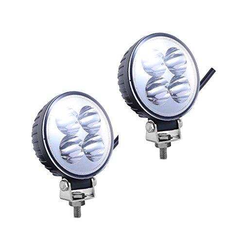 PoJu FUSKANG 2Pcs 12W Lumières de travail à LED, Lampes à cames rondes Lumières de voiture FloodLights Éclairage antibrouillard Véhicule tout-terrain Lumières modifiées Éclairage de réparation de navi