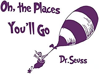 BooDecal Dr Seuss Quote Sign Series Wall Decals Oh The Place You Will Go Balloon Travel Decoration Vinyl Lettering Stickers Inspiring Words Wall Decor for Bedroom Living Room Classroom