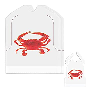 Nonley 50 Pack Crab Bibs 22  Plastic Bibs Lobster Bibs for Adults Adult Disposable Bibs Crab Feasts Bibs for Eating at Crawfish Table Keep Your Clothes Clean at Seafood Boil Party