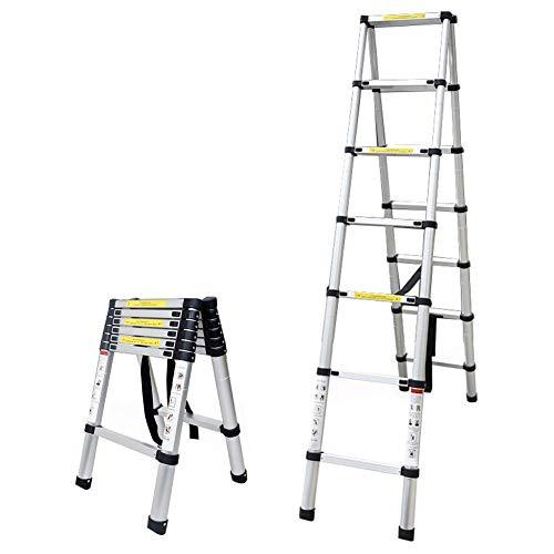 Asan Telescopic Extension Ladder A Frame, Anti-Skid Folding Telescopic Tall Ladder, Multi Purpose & Portable, Support 150kg (Dimensioni: 2.6m   8.53ft)