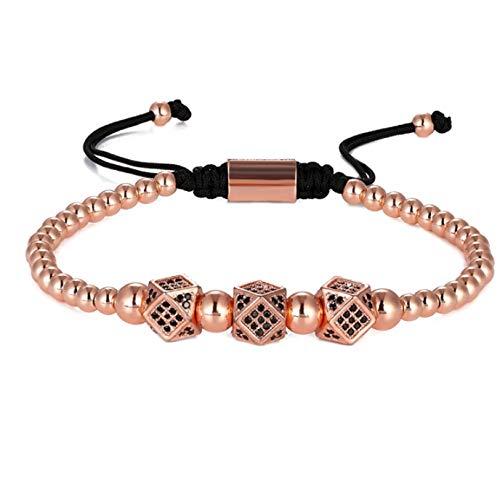 Heren Armband Sieraden Armband Goud Kralen Micro Pave Kroon Rose Goud Kralen Armband Gift