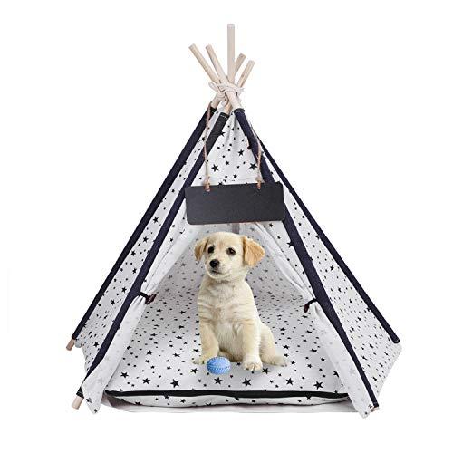 Hunde Tipi Hause und Zelt Haustierzelt für Hunde Welpe Katze mit Matraze, Canvas-Hundehütte 60cm, Haustier-Bett, Süße Spitze Pet Tipi Tent mit Kissen & Tafel, Abnehmbar und Waschbar