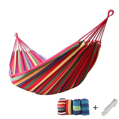 Hamaca de jardín para camping al aire libre, 190 x 80 cm, de lona, portátil, para colgar con cuerda de corbata, bolsa de almacenamiento para acampar y al aire libre, jardines y viajes, arco iris