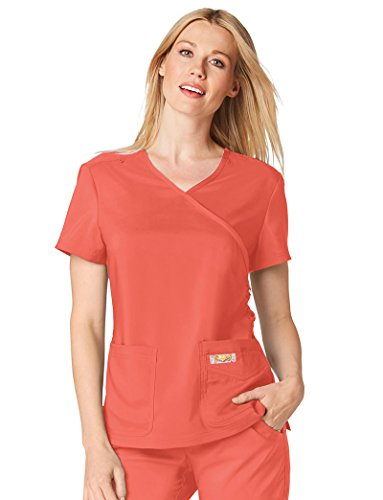KOI Tech Women's Abby Mock Wrap Solid Scrub Top XXX-Large Rose
