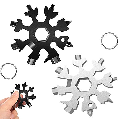 18-in-1 Snowflake Multi-Tool,Stainless Steel Snow Multitool Bottle Opener/Flat Screwdriver Kit/Wrench/Keychain Gadgets for Outdoor Enthusiast and Men's Christmas gift,Durable and Portable,2 Pack
