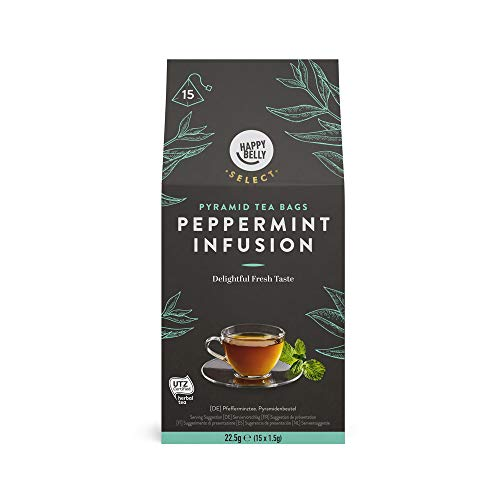 Amazon Brand - Happy Belly Select Herbal Tea Teabags, Peppermint 4x15 Pyramides