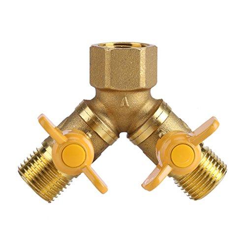 Asixx Doppelter Hahn Adapter, 2-Wege Wasserhahn Adapter aus Messing Passend für Standard G1 / 2 für zu Hause oder in der Industrie