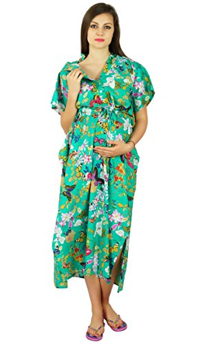 Bimba Nursing Cotton Kaftan Front Buttons Maternity Night Wear- to be Moms Gift Baby Shower