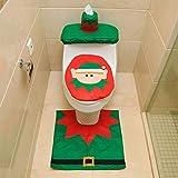 ZSWQ 3pcs Navidad Fundas para Asientos de Inodoro Santa Toilet Seat Cover Set Alfombra y Tejido Caja Conjunto Regalo para Asiento de Inodoro y Alfombra para decoración de Navidad(Duende navideño)
