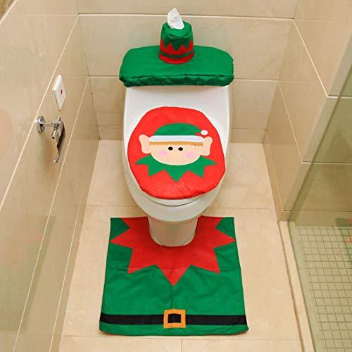 ZSWQ 3 PCS Natale Toilette Copriwater Decorazioni Elfo di Natale Coprivaso Set, Elfo di Natale Sedile WC Coperchio e Tappeto & Scatola del Tessuto di Copertura Insieme (Elfo di Natale)