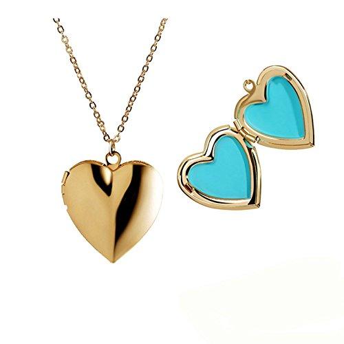 Daesar Collar Medallón Collar Acero Inoxidable Collar de Mujer Colgante Corazón Collar Colgante Poner Foto Collar para Mujer Azul Longitud 40cm