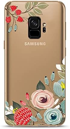 Samsung Galaxy S9 Case,Blingy's New Cute Floral Style Transparent Clear Soft TPU Protective Case Compatible for Samsung Galaxy S9 (Flower Outline)
