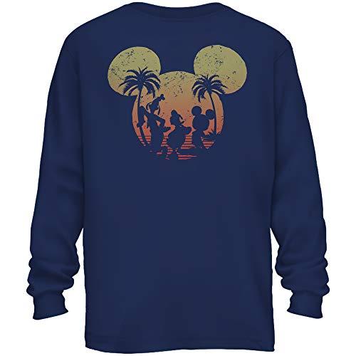 Disney Mickey Mouse Donald Duck Goofy Sunset Disneyland World Funny Men's Adult Graphic Long Sleeve Shirt (Navy, X-Large)