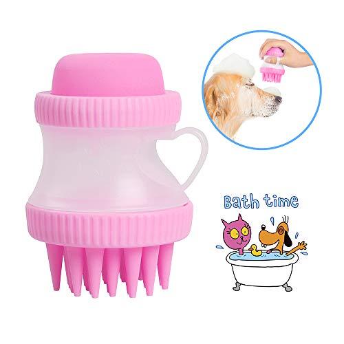 Belking 2-in-1 huisdier massage badborstel, hond Shampoo borstel huisdier siliconen massage kam hond bad gereedschap, wassen borstel met ingebouwde Shampoo Reservoir, roze