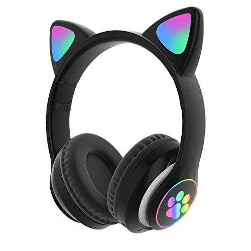 Bluetooth 5.0 Cat Ear Headphones footprint LED headset Foldable Over-Ear Stereo Wireless Headsets with Mic LED Light and Volume Control Support FM Radio/TF Card/Aux for mobile PC Tablet (Pink)