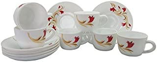 Larah by BOROSIL Opal Glass Lilly Cup and Saucer, 130 ml, Red -Set of 12 Pieces