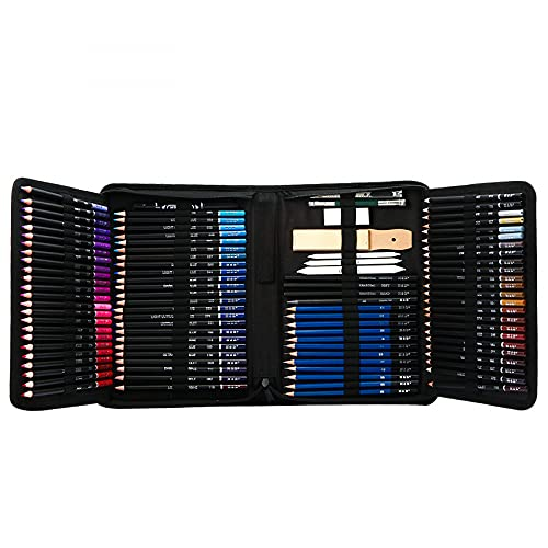 Siqi lápices de colores, juego de 145 piezas, núcleos a base de cera suave, suministros de arte para dibujar, dibujar, sombrear, lápices de colores para adultos, principiantes y artistas con caja de...