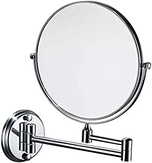 Makeup Vanity Mirror, 3X Magnification Beauty Mirror Two-Sided Wall Mounted Bathroom Mirror 360° Swivel Extendable Cosmetic Mirror,Silver_8inch, Bathroom