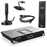 6 monate freenet tv mit den top programmen in brillantem hd, wie rtl, vox, prosieben, sat.1 u.v.m. typ: dvb-t/dvb-t2 full hd receiver mit leistungsfähigen hevc h.265 decoder und integrierten kartenloses irdeto-zugangssystem für freenet tv. für den em...