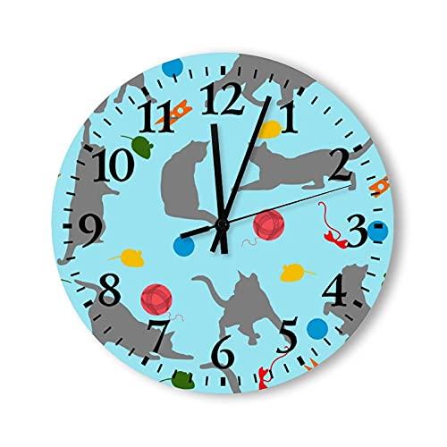 Reloj de pared de madera, funciona con pilas, 15 pulgadas, el gato en el juego, decoración moderna para cocina, baño, sala de estar, dormitorio, decoración decorativa no hace garrapatas